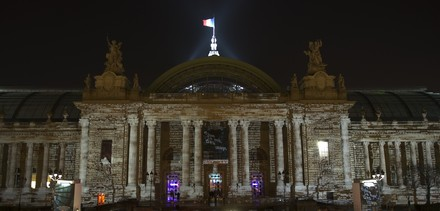 See the media:The façade of the Grand Palais illuminated by Charles Sandison.