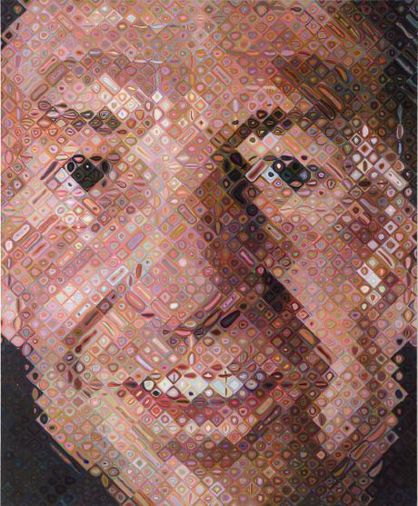 chuck close analysis artwork The model for this painting was not frank himself but rather an 8-by-10-inch photograph of him since the late 1960s, chuck close's method has been to start with a photographic print that he enlarges and overlays with a grid.